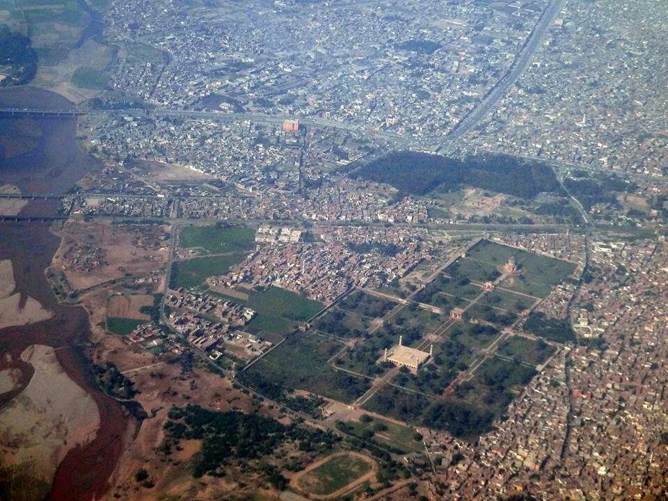 Arial view of Shahdra Bagh